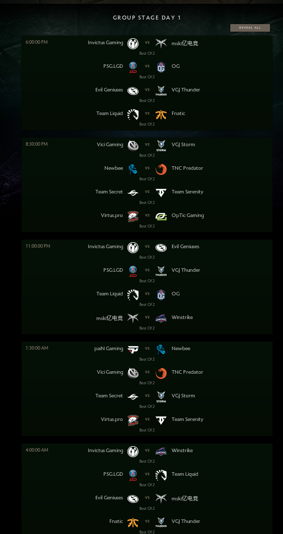 Dota2 Day1 matchups